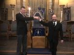 Masters' handover in April 2017: WBro Adrian Zobel, left, and WBro Jeff Monk